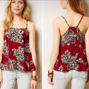Maeve Anthro Zaballa red floral cami tank TB5